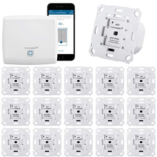 Homematic IP Rolladensteuerung Komplettset XXL für die Steuerung von 16 Rolladen. Vollständig mit Smartphone Steuerung, Zentrale, 16 Aktoren. Ideal für Hausbau oder zum Nachrüsten. Alexa kompatibel.