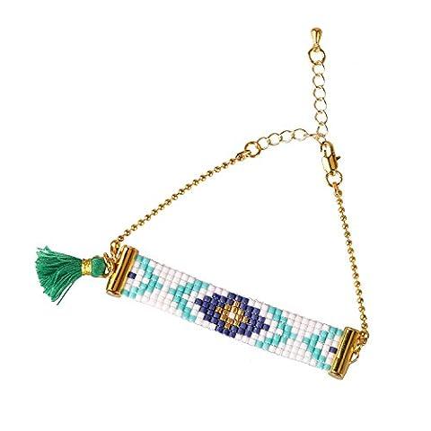 KELITCH Plaqué Or Tisser Pop Arrows Geometric Motif Rococo Seed Perles Chaîne Bracelet Mit Vert Gland
