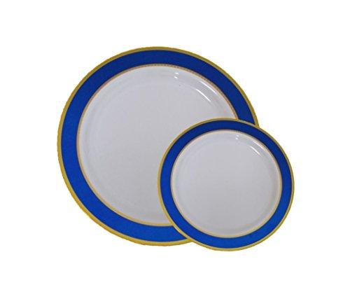 Einweg Kunststoff Dinner & Dessertteller mit Blau & Gold Trim-40Pack-2017,8cm Dessertteller, 2026cm Speisetellern. Blau & Gold mit Rand Elegante China wie Hochzeit Geschirr. Gold Trim Dessert