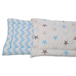 Baby Nestchen Bettumrandung in verschiedenen Designs 200 x 30 cm von baBice, Muster:hellblau Sterne