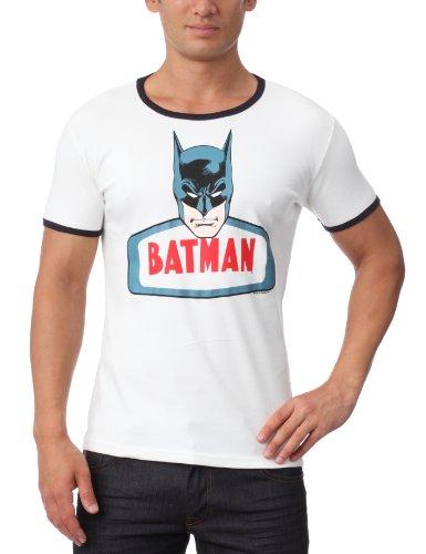 T-Shirt Batman - Face - DC-Comics- Original Rundhals T-Shirt von TRAKTOR® - weiß - Lizenziertes Originaldesign, Altweiß/Navy, S