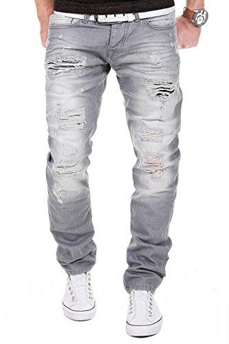 MERISH Herren Jeanshose Destroyed Look Chino Regular Fit Jeans Hose Neu Trend J727 Grau 33/32 (Calvin Klein-loose-fit-jeans)