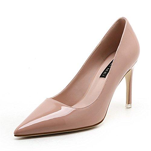 Aisun Damen Sexy Spitz Zehen Lackleder Low Top High Heels Stiletto Pumps Pink