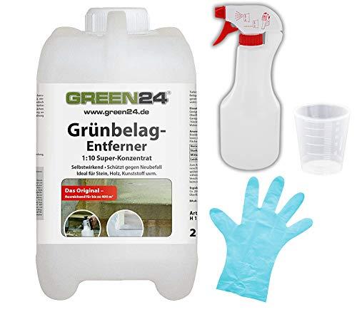 GREEN24 Grünbelagentferner 2L Set M+H+S, Algenentferner für Naturstein, Platten, Pflaster, Holz, Kunststoff u. Terrasse SET -