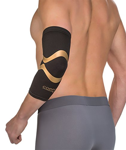 Kupfer Fit Pro Series Performance Kompression Elbow Sleeve, Unisex, Black with Copper Trim, Large (Elbow Compression Sleeve Kupfer)