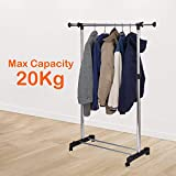 ORPIO (LABEL) Stainless Steel Portable Single Pole Telescoplc Clothes Rack, Foldable Single Clothes