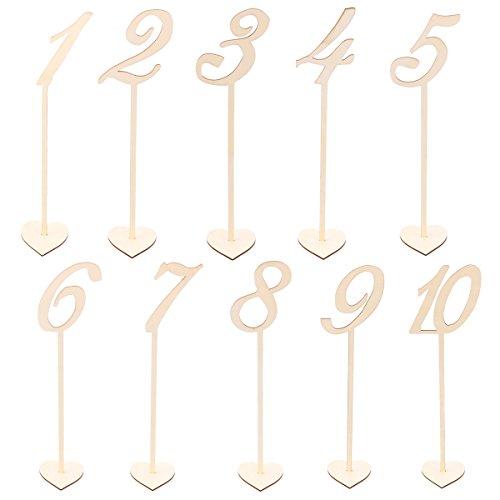 BESTONZON Tischnummernhalter aus Holz, 1 bis 10 Basis für Hochzeit, Geburtstag, Weihnachten, Party, 10 Stück
