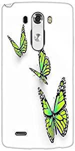 Snoogg Butterfly Isolated On White Designer Protective Back Case Cover For LG G3