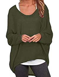 ddad8e2868 ZANZEA Women Loose Solid Irregular Long Sleeve Baggy Jumper Casual Tops  Blouse T-Shirt