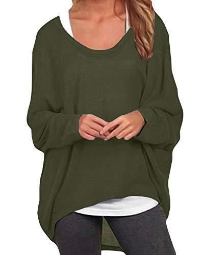 ZANZEA Damen Lose Asymmetrisch Jumper Sweatshirt Pullover Bluse Oberteile Oversize Tops Armee-Grün EU 36/Etikettgröße S -
