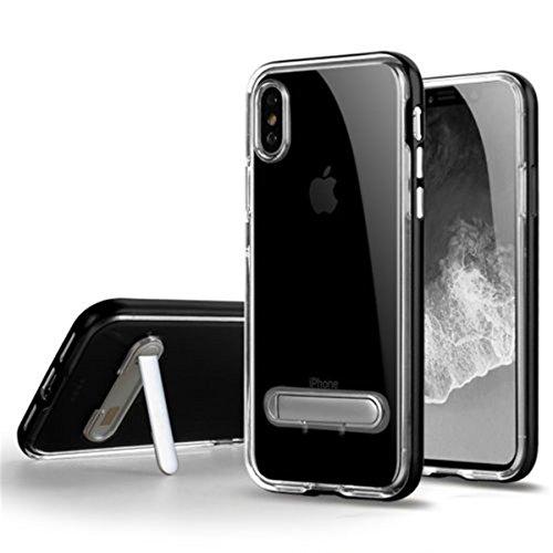 Transparenter TPU Hülle Schutzhülle mit Rückwand Faltbarer holder Stoßfänger Hülle für iPhone X, Blau Silber