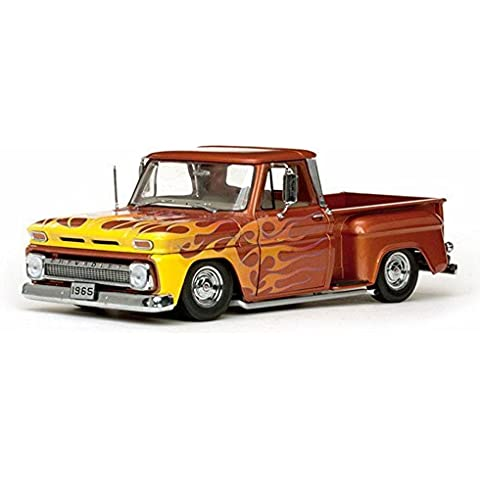 1965 Chevy C-10 Stepside Lowrider Pickup Truck, Orange - Sun Star 1392 - 1/18 Scale Diecast Model Toy Car by Sunstar