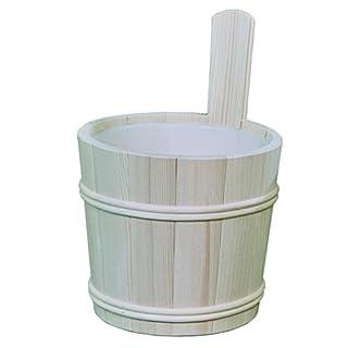 Sauna Aufgusskübel aus PEFC zertifizierten Fichtenholz 5Liter mit Kunststoffeinsatz