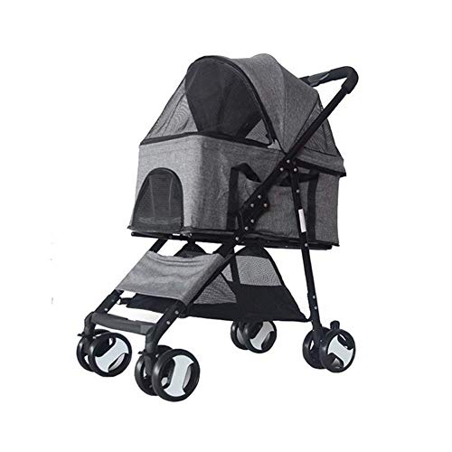 WLDOCA Kinderwagen für Hund,Trolley Anhänger Fahrrad Windschutz Regen Reise Outdoor Faltbare Handtasche Katze 4 Rad für Hunde (Kinderwagen Fahrräder)