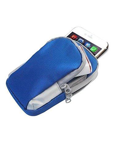 Fascia Sportiva Da Braccio Con Doppia Tasche Per iPhone 6 Plus 6s 6 Samsung Galaxy Cellulare Bel Colore Blu