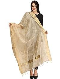 AKSARA Women's Raw Silk Solid Dupatta, Free Size(Beige, DA141)