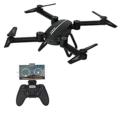 Drone with Camera,CrossRace Foldable RC Quadrocopter,2.4GHz WiFi FPV RC Drone with Camera, 4CH 6-Axis Gyro APP Control FPV Drone, Black