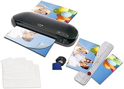 Olympia A230 Plus - Plastificadora tamaño DIN A4 con recortador, 15 folios de DIN A4 hasta tamaño de tarjeta de visita y redondeador de esquinas