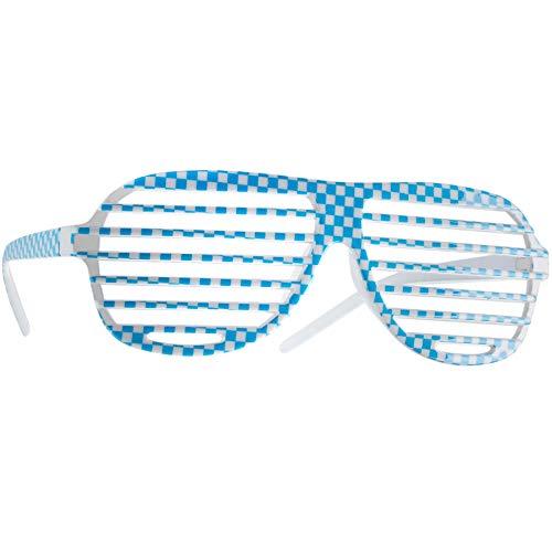 dressforfun 900647 Unisex Gli Occhiali a Griglia, a Cuadri, Bicolore, Costume Tradizionale Oktoberfest -Diversi Colori (Blu-Bianco | Nr. 303249)