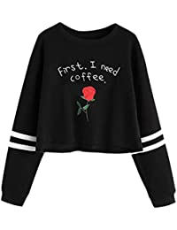 Bighub Women Long Sleeve Sweatshirt Casual Round Neck Embroidery Rose Letter Print Pullover - X-Large , Black