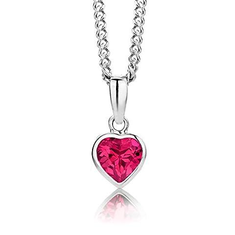 ByJoy 925 Heart Shaped Ruby Pendant on 45 cm Curb