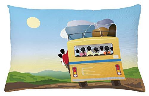 ABAKUHAUS Karikatur Kissenbezug, Überfüllten gelben Bus, Waschbar mit Reißverschluss Kissenhülle mit Farbfesten Klaren Farben Beidseitiger Druck, 65 x 40 cm, Mehrfarbig -