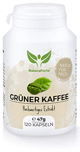 NaturaForte Grüner Kaffee Kapseln 120 Stück, Hochdosiert grüner Kaffee Extrakt mit...