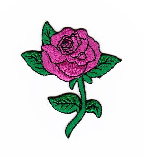 Aufnäher Bügelbild Aufbügler Iron on Patches Applikation Rose Blume Pink Rosa Kinder Kleidung