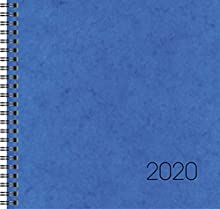 Brunnen 107660130 Calendario quadrato grande Modello 766, 2 pagine = 1 settimana, 210 x 205 mm, copertina in cartone blu, calendario 2019, rilegatura a filo