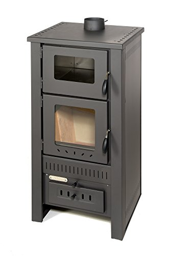 acerto 40513 Santo Holzofen - 8 kW - Kaminofen aus hochwertigem Stahl für Holz & Kohle - Indoor-Ofen zum Kochen & Backen