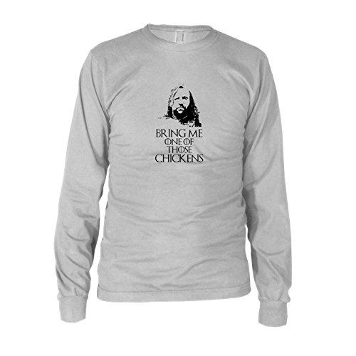 GoT: Bring me one of those Chickens - Herren Langarm T-Shirt, Größe: M, Farbe: weiß
