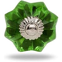 Mellon-Pomello in vetro, finiture in cromo, Verde Veronica Porta manopola,tira maniglia per Cassetti Armadio da Trinca-Ferro