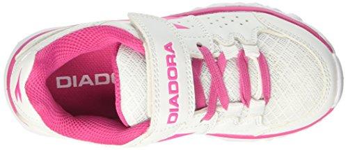 Diadora Hawk 7 Jr, Chaussures de Course Mixte Enfant Blanc Cassé (Bianco/rosa Shocking)