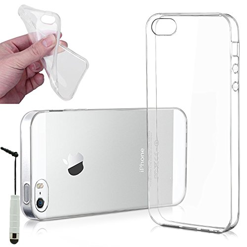 VCOMP® Ultra dünne Silikon Handy Schutzhülle für Apple iPhone 5/ 5S/ SE + Mini Eingabestift - TRANSPARENT TRANSPARENT + Mini Eingabestift