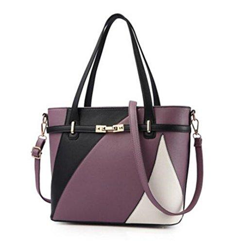 Damen Leder Handtaschen Schulter Tasche Frauen Casual Tasche weiblichen Patchwork Handtaschen Main Damen Taschen Lavendel - Lavendel Vintage Handtasche