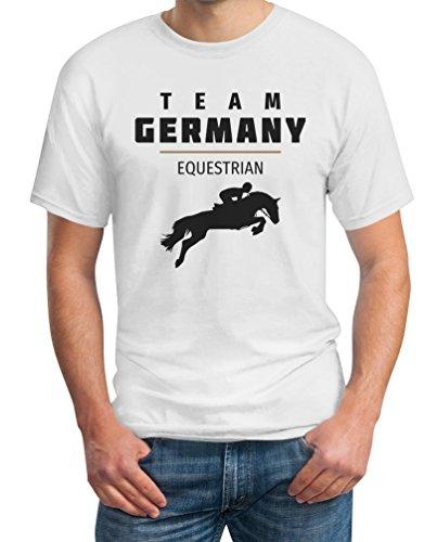 Team Germany Deutschland Equestrian Pferde Springreiten Rio T-Shirt Weiß
