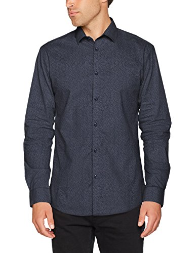 SELECTED HOMME Shdonenew-Mark Shirt LS Sts, Camicia Formale Uomo Multicolore (Navy Blazer Aop)