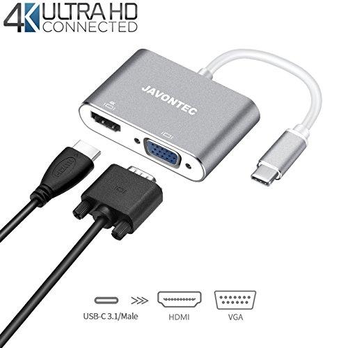JAVONTEC USB C to VGA HDMI Adapter