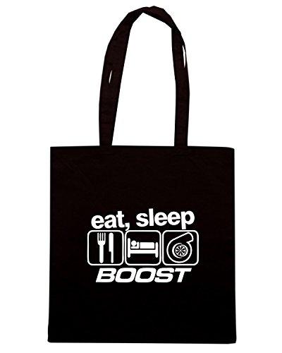 T-Shirtshock - Borsa Shopping TB0250 Eat Sleep Boost Funny Mens Turbo Car Nero