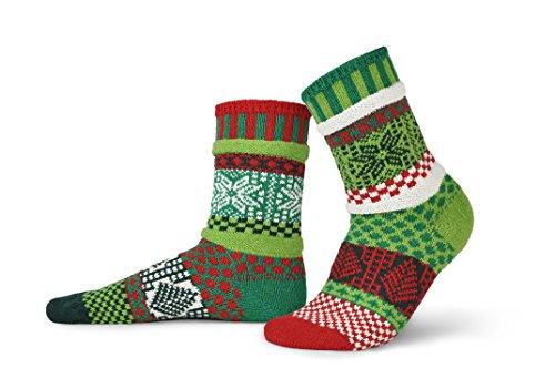 Solmate Socks Damen Socken, Gestreift mehrfarbig mehrfarbig Gr. Medium, Mistletoe (Toe Gold Liner)