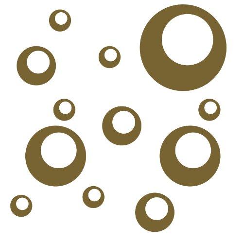 Kleb-drauf® - 12 Retro-Punkte/Orange - matt - Aufkleber zur Dekoration von Wänden, Glas, Fliesen und Allen Anderen glatten Oberflächen im Innenbereich; aus 19 Farben wählbar; in matt oder glänzend
