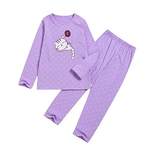 Katze Kostüm Variationen - Cuteelf Kinder-Winterjacke Langarm-Cartoon-Katze-Punkt-Druck-Shirt + Hosen Zweiteilige Home-Service-Anzug Langarm-Cartoon-Katze-Druck-Shirt Hosen Pyjama-Set