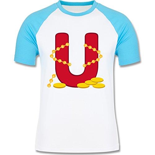 Anfangsbuchstaben - U Schifffahrt - zweifarbiges Baseballshirt für Männer Weiß/Türkis