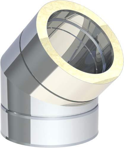 Doppelwandige Rauchrohr (Edelstahlschornstein doppelwandig DN150 Winkel 45° starr 0,5 mm Kamin Rauchrohr)