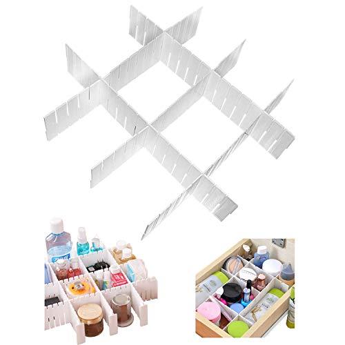 5-tlg Weiße Verstellbare Schubladenteiler Aufbewahrung Organizer Fachteiler - 5 Trennwände von 43cm - 9cm Tiefe - Schubladeneinsatz für Schubladen, Schreibtisch, Bad, Küche - Teiler Set