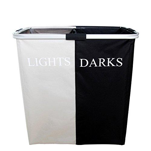 Faltbare Doppel behindern schwarz und weiß Alu Rahmen Wäschekorb (schwarz und weiß) (Behindern 2 Abschnitt)