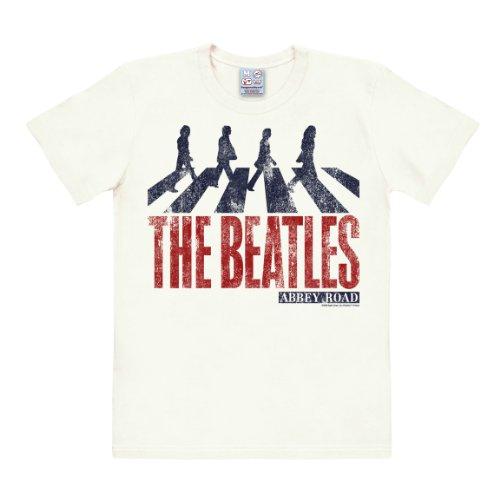 The Beatles - Abbey Road Vintage Camiseta Easyfit - Blanco Antiguo - Diseño original con licencia - LOGOSHIRT, talla S