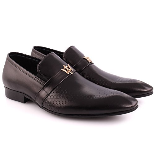 Unze Männer Gordman Leder Perforierte Slip-on Prom Hochzeitsfeier Büro Formal Kleid Schuhe UK Größe 7-11 - H398-205H Schwarz