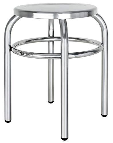 Beeketal \'BEH-30\' Hocker aus Edelstahl mit Ø 29 cm Sitzfläche, ca. 1,6 kg, (L/B/H): ca. 390 x 390 x 430 mm, stabiler Edelstahlhocker fertig montiert mit 4 PVC Stuhlbeinschutzkappen