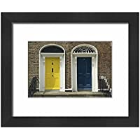 Framed 10x8 Print of Two doorways with painted doors on Bride Street in Dublin (1186411)